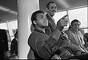 Muhammad Ali In Dublin..1972..11.07.1972..07.11.1972..11th July 1972..Prior to his fight against Al 'Blue' Lewis at Croke Park, Dublin, former World Heavyweight Champion, Muhammad Ali arrives at Dublin Airport..The fight was part of his build up for for a championship fight against the current World Champion, 'Smokin' Joe Frazier. Ali had been stripped of the title partly due to his refusal to join the American military during The Vietnam War, which he had opposed...Muhammad Ali stresses a point during the press conference.
