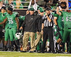 Oct 9, 2015; Huntington, WV, USA; Marshall Thundering Herd head coach Doc Holliday argues a call on the sidelines during the second quarter against the Southern Miss Golden Eagles at Joan C. Edwards Stadium. Mandatory Credit: Ben Queen-USA TODAY Sports