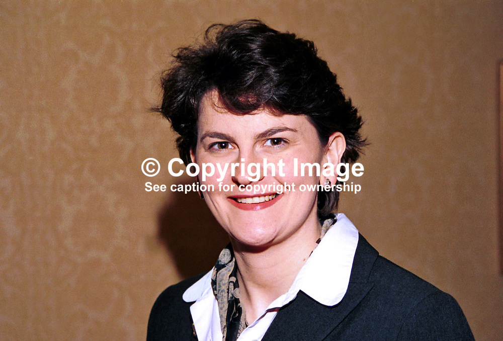 Arlene Foster, Enniskillen, N Ireland, UK, prominent member, Ulster Unionist Party. Ref: 199910302, Taken at Unionist Party Conference, Enniskillen, N Ireland, in October 1999.<br /> <br /> Copyright Image from Victor Patterson, Belfast, UK<br /> <br /> t: +44 28 9066 1296 (from Rep of Ireland 048 9066 1296)<br /> m: +44 7802 353836<br /> <br /> victorpattersonbelfast@gmail.com<br /> www.images4media.com<br /> <br /> Please see my Terms and Conditions of Use at https://www.images4media.com/p/terms-conditions  It is IMPORTANT that you familiarise yourself with them.<br /> <br /> Images used on the Internet incur an additional cost and must be visibly watermarked i.e. © Victor Patterson within the body of the image and copyright metadata must not be deleted. Images used on the Internet have a size restriction of 4 kbs and are chargeable at rates available at victorpatterson.com.<br /> <br /> This image is only available for the use of the download recipient i.e. television station, newspaper, magazine, book publisher, etc, and must not be passed on to any third party. It is also downloaded on condition that each and every usage is notified within 7 days to victorpattersonbelfast@gmail.com<br /> <br /> The right of Victor Patterson to be identified as the author is asserted in accordance with The Copyright Designs And Patents Act (1988). All moral rights are asserted.