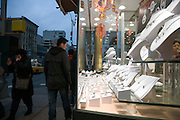 diamond, gold and silver jewelry display in Chinatown New York City