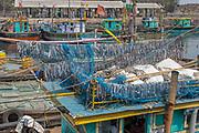 Fishing boats at the Sassoon Docks in Mumbai, India