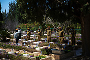IDF soldiers salute next to graves of Israeli fallen soldiers at Kiriyat Schaul Military Cemetery, Ramat Ha Sharon, Israel April 13, 2021.  Israel will commemorate this year's Memorial  in remembrance of it's soldiers who fell in the line of duty and of  and civilians who where killed in acts of terror. Services and ceremonies were cancelled during 2020 due to the coronavirus pandemic, this year, as vast percentage of the population are vaccinated, ceremonies will be able to take place in a some what ordinary manner.