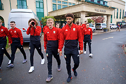 CARDIFF, WALES - Friday, November 16, 2018: Wales' Ethan Ampadu, taking a photo, Matthew Smith and Tyler Roberts during a pre-match walk at the Vale Resort ahead of the UEFA Nations League Group Stage League B Group 4 match between Wales and Denmark. (Pic by David Rawcliffe/Propaganda)