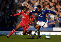 Photo: Jed Wee/Sportsbeat Images.<br /> Everton v Liverpool. The FA Barclays Premiership. 20/10/2007.<br /> <br /> Everton's Joleon Lescott (R) keeps Liverpool's Ryan Babel at bay.