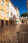 Cobblestone street and stone gate, Old Town Zadar, Dalmatian Coast, Croatia
