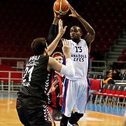 Anadolu Efes's Stephane Lasme (R) during their Turkish Basketball League match Anadolu Efes between Usak Sportif at Abdi Ipekci Arena in Istanbul Turkey on Sunday 30 November 2014. Photo by Aykut AKICI/TURKPIX