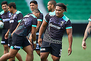 Solomone Kata of the NZ Kiwis at a stretching session during the Captain's Run and Press Conference before the Rugby League Perth Test match between the Australian Kangaroos and the NZ Kiwis from NIB Stadium - Friday 14th October 2016 in Perth, Australia. © Copyright Photo by Daniel Carson / www.photosport.nz)