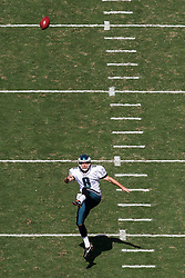 Philadelphia Eagles punter Donnie Jones #8 is seen punting the ball from an elevated position during the NFL game between the San Diego Chargers and the Philadelphia Eagles in Philadelphia. The Chargers won 33-30. (Photo by Brian Garfinkel)