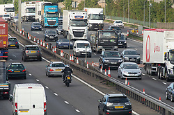 ©Licensed to London News Pictures 28/08/2020 Dartford,UK. The big August bank holiday staycation getaway has started today on the A282 in Dartford, Kent. Traffic near the Dartford crossing is starting to get busy as bank holiday travellers look to get away. 18 million cars are expected on the roads this weekend with rail cancellations due to engineering works causing delays. Photo credit: Grant Falvey/LNP