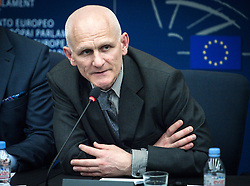 A Belarussian human rights activist Ales Bialiatski (also transliterated as Ales Bialacki, Ales Byalyatski, Alies Bialiacki and Alex Belyatsky) gives the press conference during the second day of plenary session at the European Parliament headquarters in Strasbourg, France on 02.07.2014 Bialiatski spent 4 years in the Belarusian prison (lager) and was released on 21 of June 2014. EXPA Pictures © 2014, PhotoCredit: EXPA/ Photoshot/ Wiktor Dabkowski<br /> <br /> *****ATTENTION - for AUT, SLO, CRO, SRB, BIH, MAZ only*****
