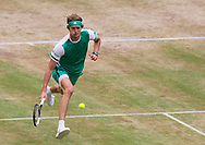 Halle, NRW, Germany. Sunday 25th June 2017. Alexander Zverev of Germany in action against Roger Federer of Switzerland in the final of the Gerry Weber Open at Halle.