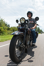 Licenced Harley-Davidson artist Scott Jacobs riding his 1926 Harley-Davidson JD during Stage 1 of the Motorcycle Cannonball Cross-Country Endurance Run, which on this day ran from Daytona Beach to Lake City, FL., USA. Friday, September 5, 2014.  Photography ©2014 Michael Lichter.