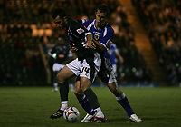 Photo: Lee Earle.<br /> Plymouth Argyle v Cardiff City. Coca Cola Championship. 12/09/2006. Cardiff's Paul Parry (R) battles with Tony Capaldi.