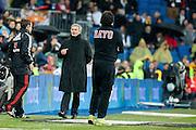 Real Madrid coach Mourinho speak to referee