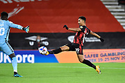 Goal 1-0 - Junior Stanislas (19) of AFC Bournemouth opens the scoring during the EFL Sky Bet Championship match between Bournemouth and Nottingham Forest at the Vitality Stadium, Bournemouth, England on 24 November 2020.