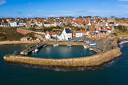 Aerial view of historic village and harbour of Crail in East Neuk of Fife, Scotland UK