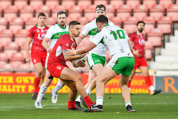 11th November 2018 , Racecourse Ground,  Wrexham, Wales ;  Rugby League World Cup Qualifier,Wales v Ireland ; Gavin Bennion of Wales in action<br /> <br /> <br /> Credit:   Craig Thomas/Replay Images