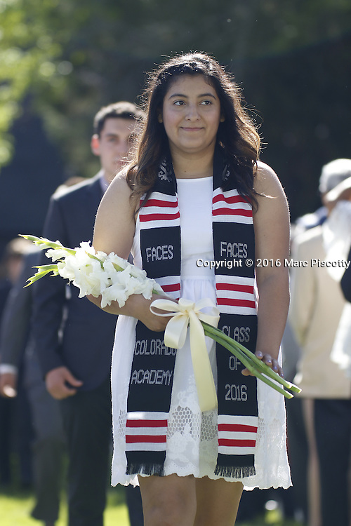 SHOT 6/2/16 8:39:43 AM - Colorado Academy Class of 2016 Commencement ceremonies at the Denver, Co. private school. The school graduated 88 seniors this year and the event capped a week filled with awards, tributes, and celebrations for the outgoing senior class. (Photo by Marc Piscotty / © 2016)