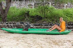 Melissa Jacobs & Galápagos Sea Lion In Kayak, San Cristóbal