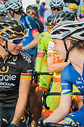 Giorgia Bronzini of Wiggle Honda chats to Laura Trott before the start of The Womens Grand Prix - which is won by Barbara Guarischi. Prudential RideLondon a festival of cycling, with more than 95,000 cyclists, including some of the world's top professionals, participating in five separate events over the weekend of 1-2 August.