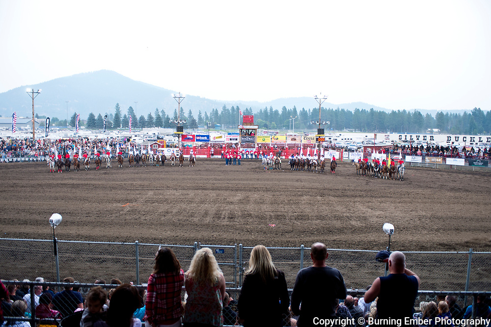 Opening Lineup during the opening at the Gem State Stampede August 25th, 2018 2nd perf in Couer D'Alene ID.  Photo by Josh Homer/Burning Ember Photography.  Photo credit must be given on all uses.