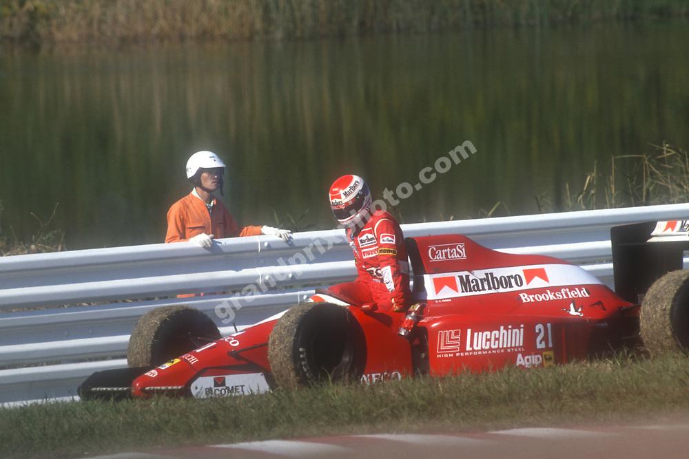 Emanuele Pirro (Dallara-Ford) retires from the 1990 Japanese Grand Prix in Suzuka. Photo: Grand Prix Photo