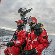 Leg 3, Cape Town to Melbourne, day 09, Willy Altadill and Louis Sinclair on board MAPFRE. Photo by Jen Edney/Volvo Ocean Race. 18 December, 2017.