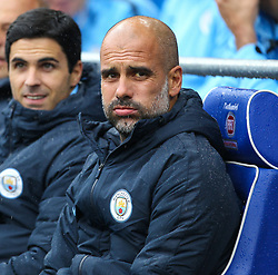 September 22, 2018 - Cardiff City, England, United Kingdom - Pep Guardiola manager of Manchester City during the Premier League match between Cardiff City and Manchester City at Cardiff City Stadium,  Cardiff, England on 22 Sept 2018. (Credit Image: © Action Foto Sport/NurPhoto/ZUMA Press)