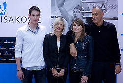Sara Isakovic and her family: brother Gal, mother Rebeka, Sara and father Nenad at press conference when she has signed a contract with SI Sport, on December 22, 2008, Grand hotel Union, Ljubljana, Slovenia. (Photo by Vid Ponikvar / SportIda).