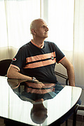Italy, Melzo, MIrco Carrara in his factory. Mirco Carrara, 55, experienced a severe bout of covid-19 and now lives with the risk of fungus-filled bubbles exploding in his lungs