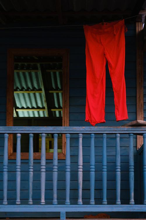 BARACOA, CUBA - CIRCA JANUARY 2020: Porch of a home in Bahia de Mata, a village close to Baracoa in Cuba.