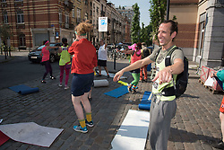 June 22, 2017 - Brussels, Belgium - A group of peace activists did a dance blockade action at the Belgian Royal Military School in Brussels, where an arms lobby event is taking place. (Credit Image: © Frederik Sadones/Pacific Press via ZUMA Wire)