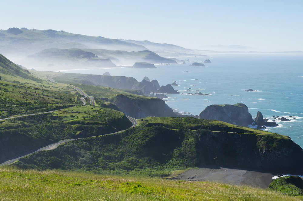 View of California Highway 1 along the Sonoma Coast