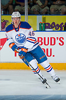 PENTICTON, CANADA - SEPTEMBER 9: Brandon Saigeon #46 of Edmonton Oilers warms up against the Winnipeg Jets on September 9, 2017 at the South Okanagan Event Centre in Penticton, British Columbia, Canada.  (Photo by Marissa Baecker/Shoot the Breeze)  *** Local Caption ***