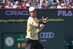March 15, 2019 - Indian Wells, CA, U.S. - INDIAN WELLS, CA - MARCH 15: Hubert Hurkacz (POL) hits a forehand during the BNP Paribas Open on March 15, 2019 at Indian Wells Tennis Garden in Indian Wells, CA. (Photo by George Walker/Icon Sportswire) (Credit Image: © George Walker/Icon SMI via ZUMA Press)