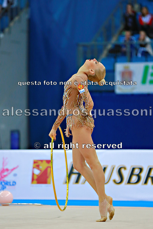 """Kudryavtseva Yana of Russia competes during the rhythmic gymnastics individual of the World Cup at Adriatic Arena on April 1, 2016 in Pesaro, Italy. Yana """"The Queen"""" is a Russian gymnast born in Moscow on 30 September 1997. Until her retirement in 2017 was one of atllete most awarded in the history of rhythmic gymnastics."""
