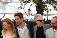 Sarah Gadon, Robert Pattinson, David Cronenberg, Paul Giamatti, Cosmopolis photocall at the 65th Cannes Film Festival France. Cosmopolis is directed by David Cronenberg and based on the book by writer Don Dellilo.  Friday 25th May 2012 in Cannes Film Festival, France.