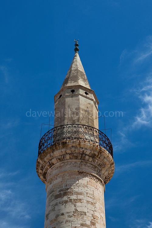 The Ahmet Aga Minaret on Daliania St., Xania, a remnant from the city's Turkish days.