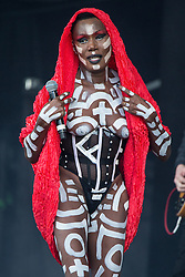 © Licensed to London News Pictures . 07/06/2015 . Manchester , UK . GRACE JONES performs on the main stage at The Parklife 2015 music festival in Heaton Park , Manchester . Photo credit : Joel Goodman/LNP