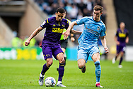 Derby County midfielder Ravek Morrison  (11)  battles for possession during the EFL Sky Bet Championship match between Coventry City and Derby County at the Coventry Building Society Arena, Coventry, England on 23 October 2021.
