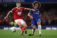 Ethan Ampadu of Chelsea (R) holds off Ben Osborn of Nottingham Forest (L). Carabao Cup 3rd round match, Chelsea v Nottingham Forest at Stamford Bridge in London on Wednesday 20th September 2017.<br /> pic by Steffan Bowen, Andrew Orchard sports photography.