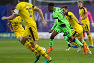 Forest Green Rovers Tahvon Campbell(14) runs forward during the The FA Cup 1st round match between Oxford United and Forest Green Rovers at the Kassam Stadium, Oxford, England on 10 November 2018.