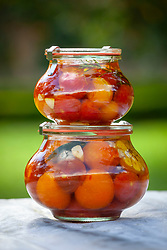 Drowned tomatoes in round jars