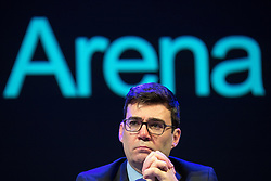 © Licensed to London News Pictures . FILE PICTURE DATED 23/05/2017 as Manchester prepares to mark a year since the Manchester Arena terror attack . Salford, UK. Greater Manchester Mayor ANDY BURNHAM . The Kerslake Report in to the terrorist bombing of an Ariana Grande concert at the Manchester Arena on 22nd May 2017 , ordered by Greater Manchester Metro Mayor Andy Burnham , is published at a press conference at the University of Salford , at Media City . Amongst praise for many connected with the events, the report also highlights failings in communication at Greater Manchester Fire and Rescue on the night and disreputable behaviour by some sections of the media in the aftermath of the attack . Photo credit : Joel Goodman/LNP