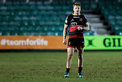 Dragons' Tyler Morgan<br /> <br /> Photographer Simon King/Replay Images<br /> <br /> Guinness PRO14 Round 14 - Dragons v Glasgow Warriors - Friday 9th February 2018 - Rodney Parade - Newport<br /> <br /> World Copyright © Replay Images . All rights reserved. info@replayimages.co.uk - http://replayimages.co.uk