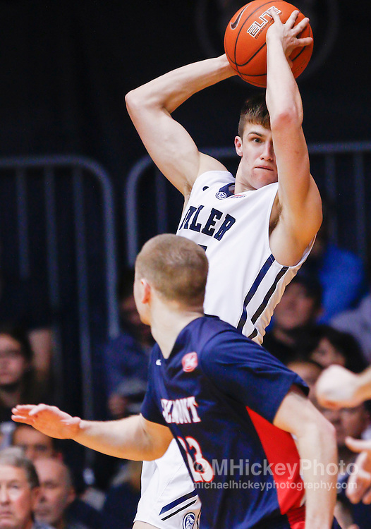 INDIANAPOLIS, IN - DECEMBER 28: Kellen Dunham #24 of the Butler Bulldogs looks to pass the ball off during the game against the Belmont Bruins at Hinkle Fieldhouse on December 28, 2014 in Indianapolis, Indiana. (Photo by Michael Hickey/Getty Images) *** Local Caption *** Kellen Dunham