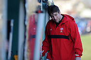 Wales capt Ryan Jones arrives for training. Wales rugby training and press conference at the Vale resort, Hensol near Cardiff, South Wales on Tuesday 19th Feb 2013. The team are training ahead of their forthcoming RBS Six nations match in Italy. pic by Andrew Orchard, Andrew Orchard sports photography,