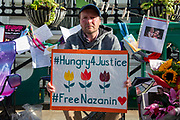 Richard Ratcliffe, the husband of detained Nazanin Zaghari Ratcliffe, on day 13 of his hunger strike outside the Iranian Embassy in Knightsbridge, London, United Kingdom on 27th June 2019. Mr Ratcliffe began his protest on June 15 at the same time his wife went on hunger strike in Iran, where she has been detained in prison since April 2016.