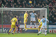 Corner for Huddersfield is dealt with by Rotherham defenders during the Sky Bet Championship match between Huddersfield Town and Rotherham United at the John Smiths Stadium, Huddersfield, England on 15 December 2015. Photo by Mark P Doherty.