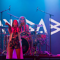 Vocalist Cato van Dijck (L) and her brother drummer Joost van Dijck (R) perform with their Dutch-New Zealand band My Baby at their concert on the A38 Stage at Sziget Festival held in Budapest, Hungary on Aug. 13, 2018. ATTILA VOLGYI